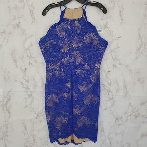 B. DARLIN Royal Blue Lace Mini Dress High Neck 14